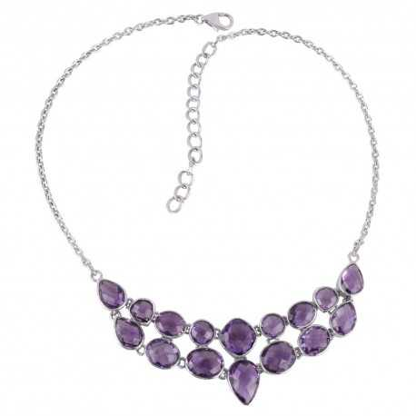 Amethyst and Solid Silver Gemstone Choker Necklace