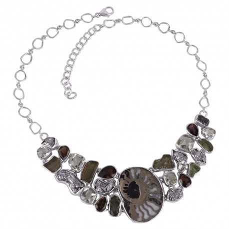 Solid 925 Silver and Russian Pyrite Ammonite Smoky Prasiolite Moldavite Gemstone Big Necklace
