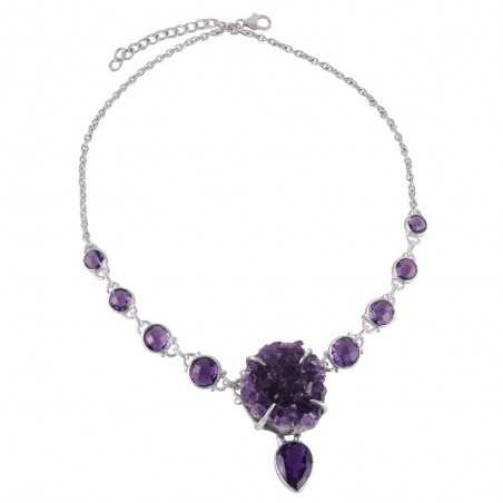 Amethyst Druzy Drusy and Faceted Gemstone Solid Siver Drop Necklace