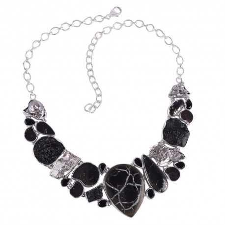 Septarian Meteorite Hematite Tektite Onyx and 925 Silver Necklace