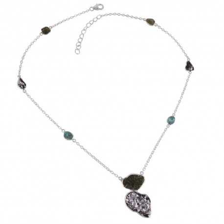Apatite Meteorite and Moldavite Sterling Silver Drop Necklace