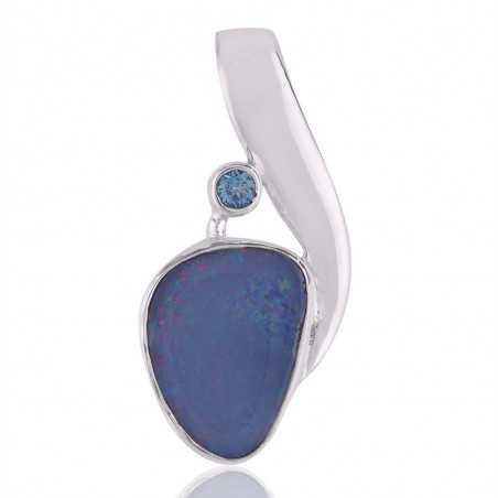 Blue Opal and Blue Topaz Sterling Silver Pendant Locket