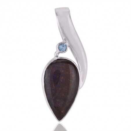 Ammolite and Blue Topaz Sterling Silver Pendant Locket