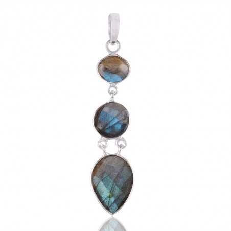 Labradorite Tear Drop Sterling Silver Dangle Drop Pendant Necklace