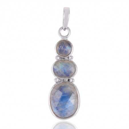 Solid 925 Silver and Rainbow Moonstone Gemstone Dangle Pendant Necklace