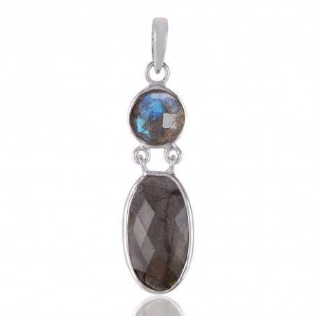 Sterling Silver and Labradorite Gemstone Dangle Pendant Necklace
