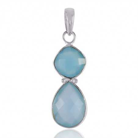 Blue Chalcedony and Sterling Silver Pendant Necklace