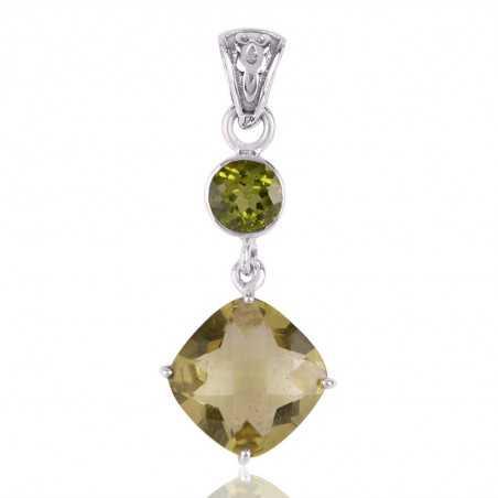 Lemon Quartz and Peridot Sterling Silver Dangle Pendant