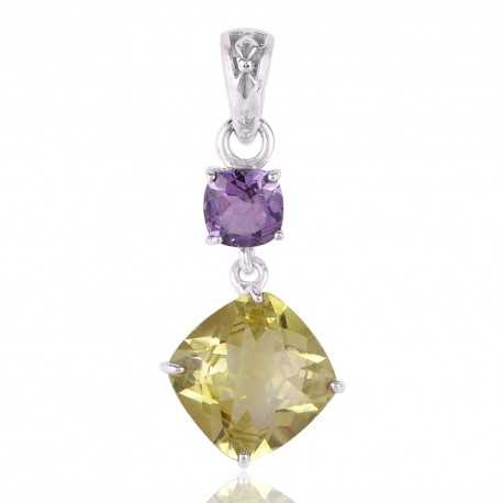 Lemon Quartz and Amethyst Sterling Silver Dangle Pendant