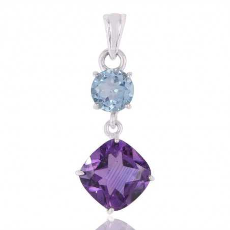 Blue Topaz and Amethyst Sterling Silver Dangle Pendant