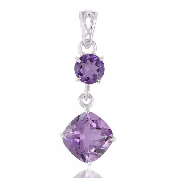 Beautiful Assorted Amethyst and Sterling Silver Dangle Pendant