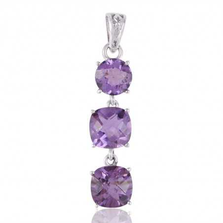 Assorted Amethyst Three Stone Silver Dangle Pendant Necklace