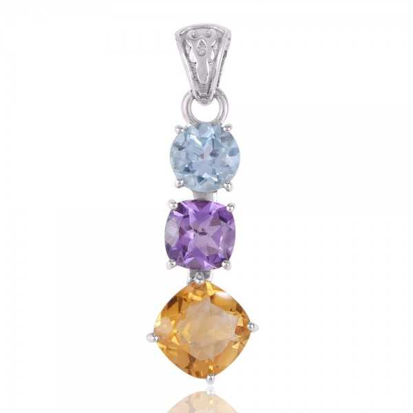Citrine Amethyst and Blue Topaz BY multi Color Silver Pendant Necklace