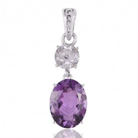 Crystal Quartz and Amethyst Sterling Silver Gemstone Pendant Necklace