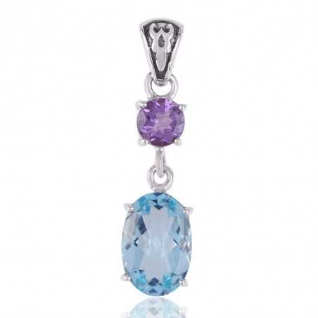 Blue Topaz BT and Amethyst Sterling Silver Gemstone Pendant Dangle Necklace