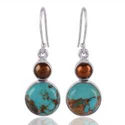 925 Sterling Silver Dangle and Drop Beautifull Handmade Earring With Bolder Turquoise and Color Pearl