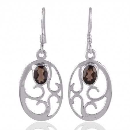 Natural Smokey Quartz Gemstone Earring 925 Sterling Silver Designer Jewelry
