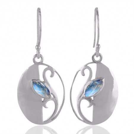 Rainbow Moonstone Gemstone Designer Sterling Silver Earring jewelry