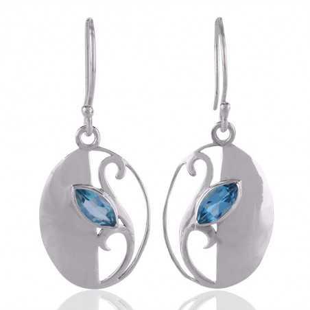 Blue Topaz Gemstone Earring With 925 Sterling Silver Jewelry