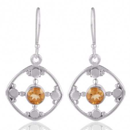 Citrine Natural Gemstone and 925 Sterling Silver Earring Jewelry