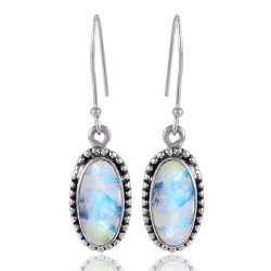 Rainbow Moonstone Gemstone Unique Handmade Sterling Silver Earring jewelry