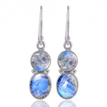 Moonstone Natural Flashy Gemstone 925 Sterling Silver Earring