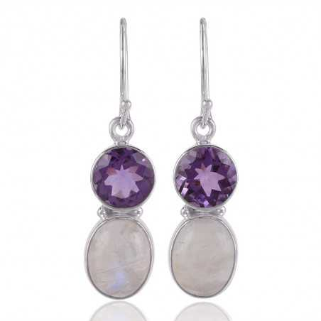 Natural Amethyst and Moonstone Natural Flashy Gemstone 925 Sterling Silver Earring