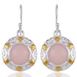 Natural Pink Opal Gemstone Beautiful Designer Two Tone Sterling Silver Earring