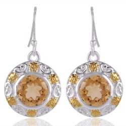 Citrine Gemstone Sterling Silver Two Tone Earring