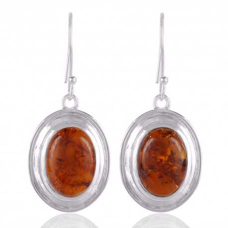 Natural Baltic Amber Gemstone and 925 Sterling Silver and Gemstone Earring jewelry