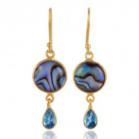 Mother Of  Pearl Natural Abalone Shell and Blue Topaz Unique Combination Gold Vermeil 925 Sterling Silver Earring