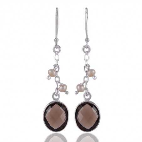 Smokey Quartz and Fresh Water Pearl Sterling Silver Dangle Drop Earring
