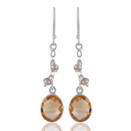 Natural Citrine and Fresh Water Pearl Sterling Silver Dangle Drop Earring