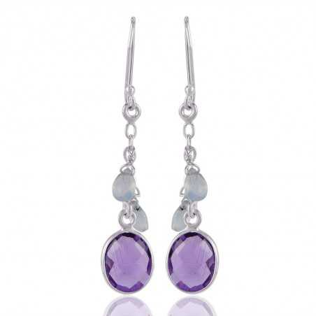 Sterling Silver And Amethyst with Onyx Gemstone Dangle Drop Earring