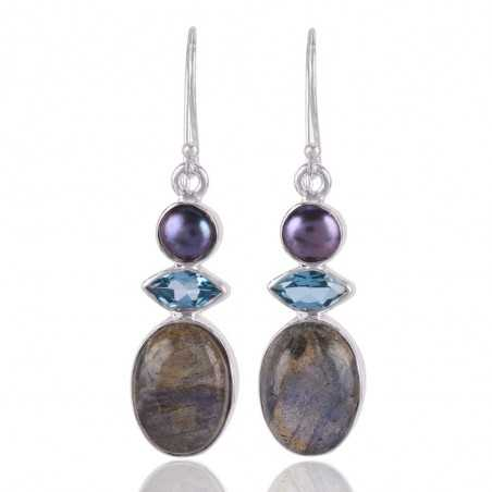 Labradorite Natural Blue Topaz and Color Pearl gemstone Sterling Silver Earring