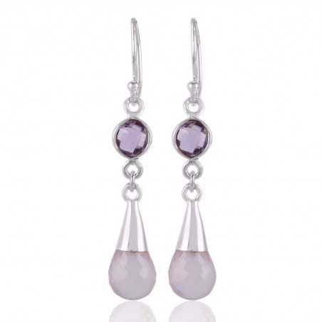 Rose Quartz With Amethyst Gemstone Sterling Silver Earring