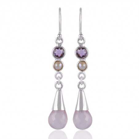 Amethyst Pearl And Rose Quartz Unique Design Sterling Silver Earring