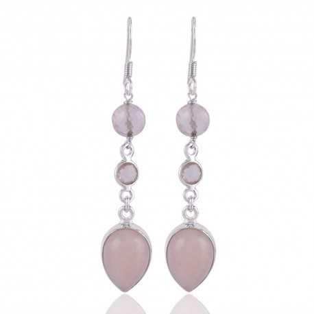 Rose Quartz With Natural Pink Opal Gemstone Sterling Silver Erarring