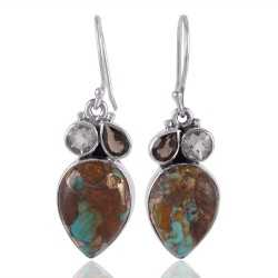 Boulder Turquoise Green Amethyst and Smokey Quartz Sterling Silver Earrings