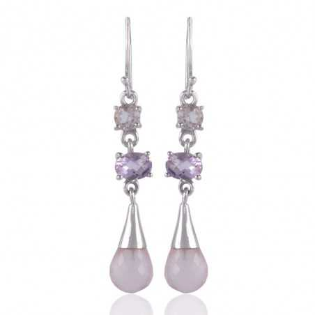 Rose Quartz Pink Amethyst And Crystal Gemstone Sterling Silver Earring