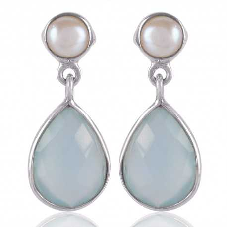 Blue Onyx with Natural Fresh Water Pearl and 925 Sterling Silver Post Earring