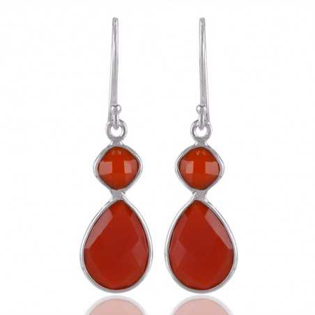 Red Onyx and 925 Sterling Silver Gemstone Dangle Earring