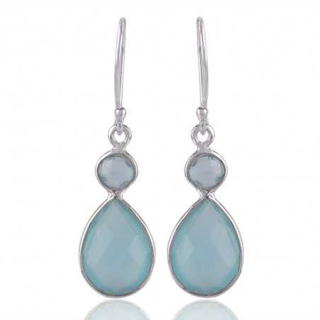 Blue Onyx and 925 Sterling Silver Gemstone Dangle Earring
