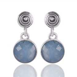 Aquamarine Gemstone 925 Sterling Silver Earring