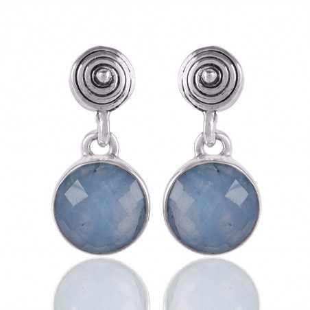 Aquamarine Gemstone 925 Sterling Silver Earring