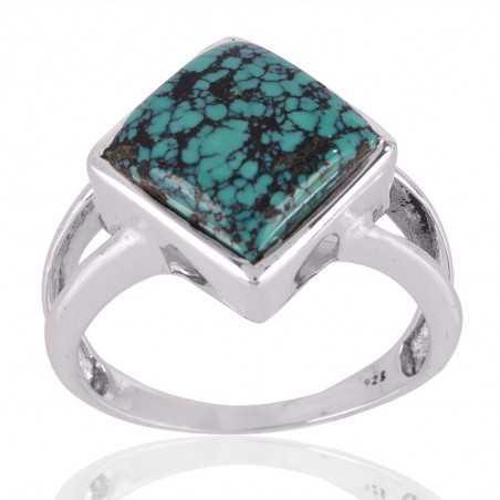 Tibetan Turquoise Gemstone 925 Sterling Silver Ring