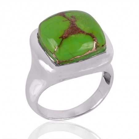 Green Copper Turquoise Gemstone 925 Sterling Silver Ring