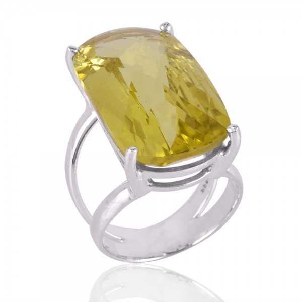 Lemon Quartz Gemstone 925 Sterling Silver Ring