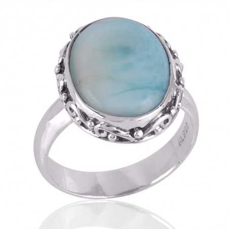 Larimar Gemstone 925 Sterling Silver Ring