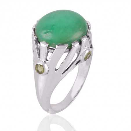 Chrysoprase & Peridot Gemstone 925 Sterling Silver Ring